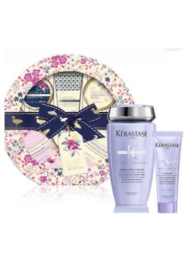 Kerastase Yılbaşı Özel Set - Baylis and Harding Cotswold Floral 5'li Set + Blond Absolu Bain Ultra Violet Şampuan 250 ml + Bakım Sütü 75ml Renksiz